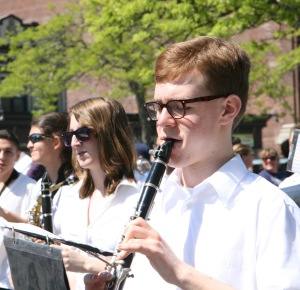 Max  playing the clarinet during the 2013 Long Beach Memorial Day Parade.